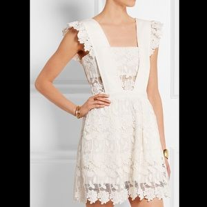 Self-Portrait Pinafore White Lace Dress